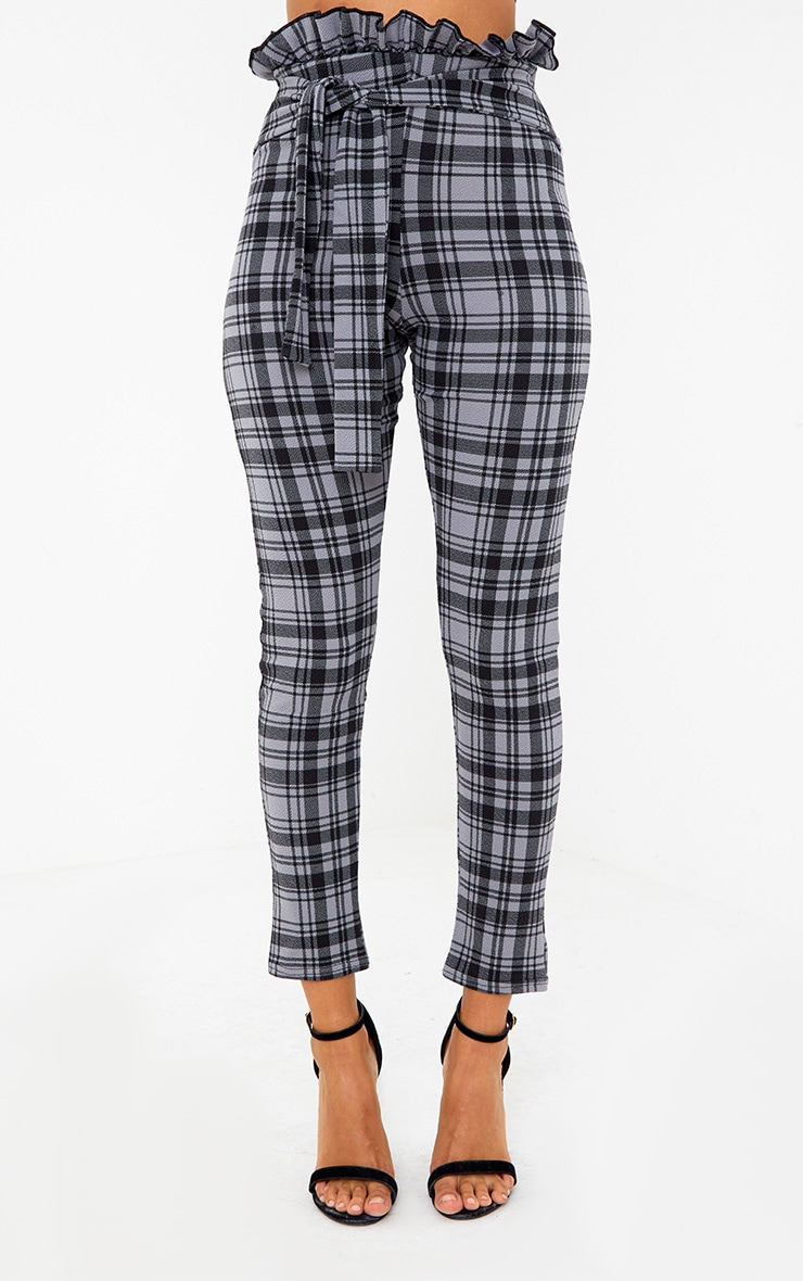 Grey Check Paperbag Skinny Trousers 2