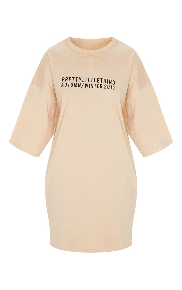PRETTYLITTLETHING Fawn Aw19 Oversized T-Shirt Dress 3