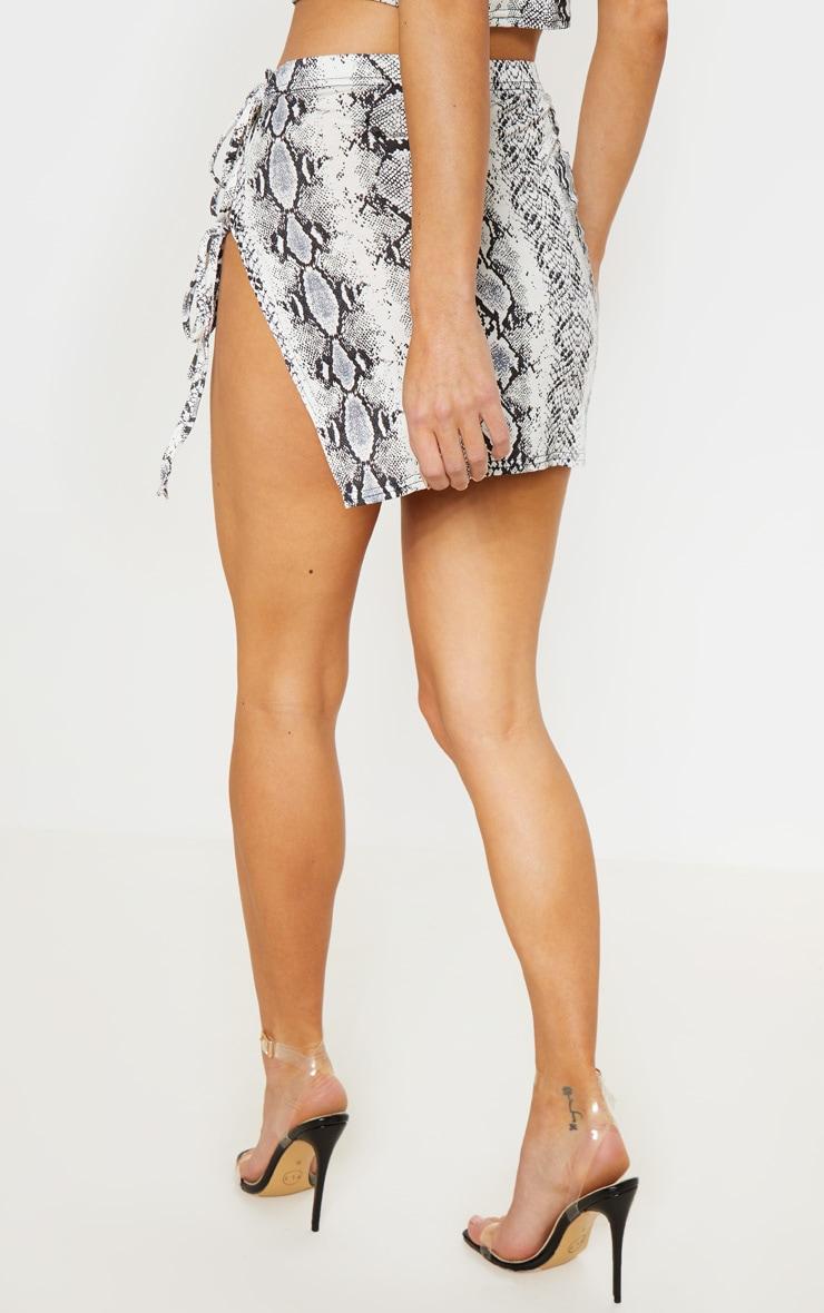 Grey Snake Print Tie Detail Mini Skirt 4