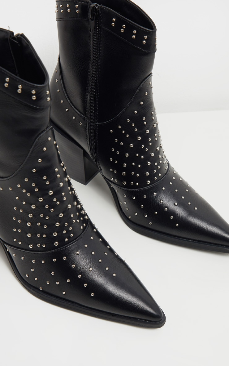 Black Point Toe Stud Detail Western Heel Ankle Boot 4