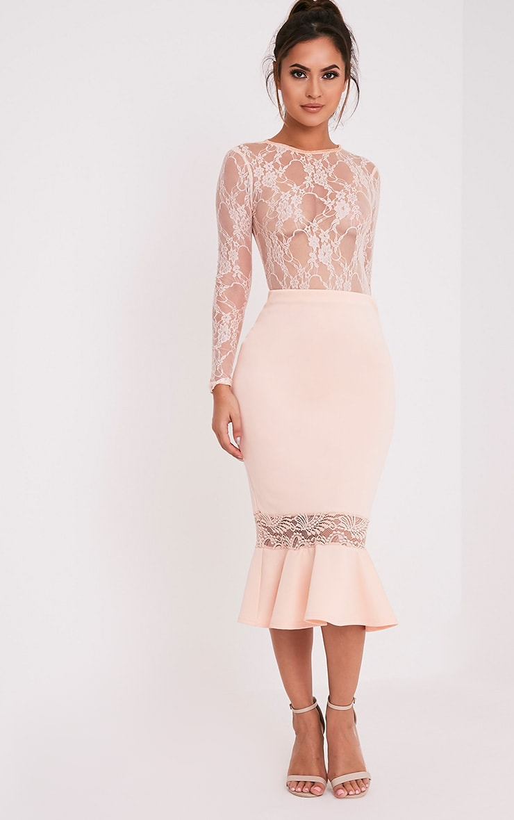 db7ee2a79 Zeline Nude Lace Insert Fishtail Midi Skirt - Skirts ...