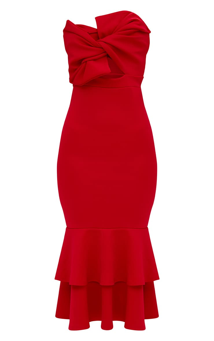 Red Scuba Bow Detail Frill Hem Midi Dress 3