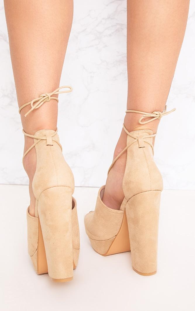 Maranda Nude Faux Suede Tie Ankle Platforms 3