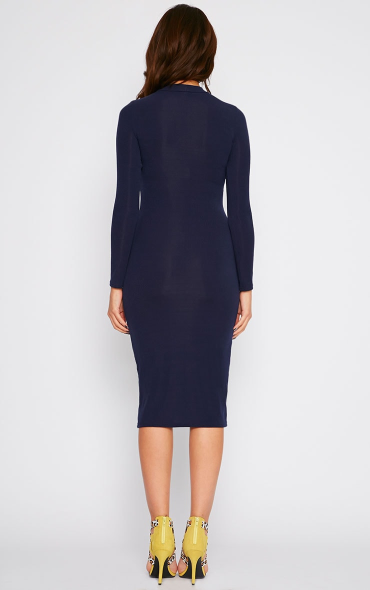 Basic Navy Ribbed Turtle Neck Midi Dress 2