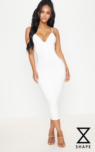 Shape Ivory Slinky Panelled Midi Dress