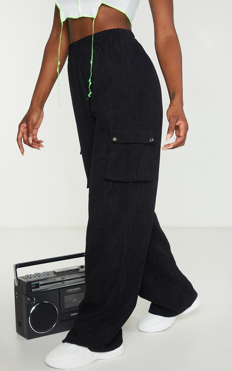 Black Cord Cargo Wide Leg Trousers 3