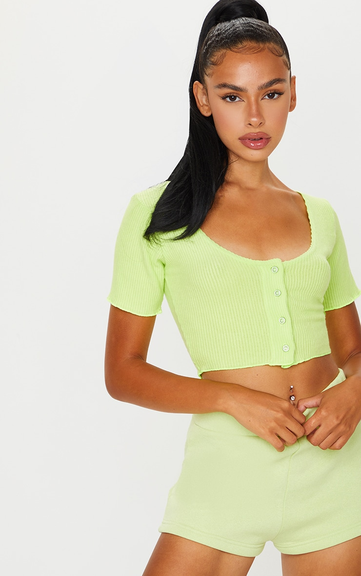 Lime Brushed Rib Button Front Short Sleeve Crop Top 3