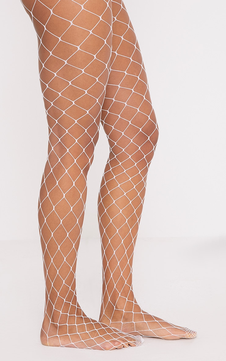 Inari White Large Fishnet Tights 2