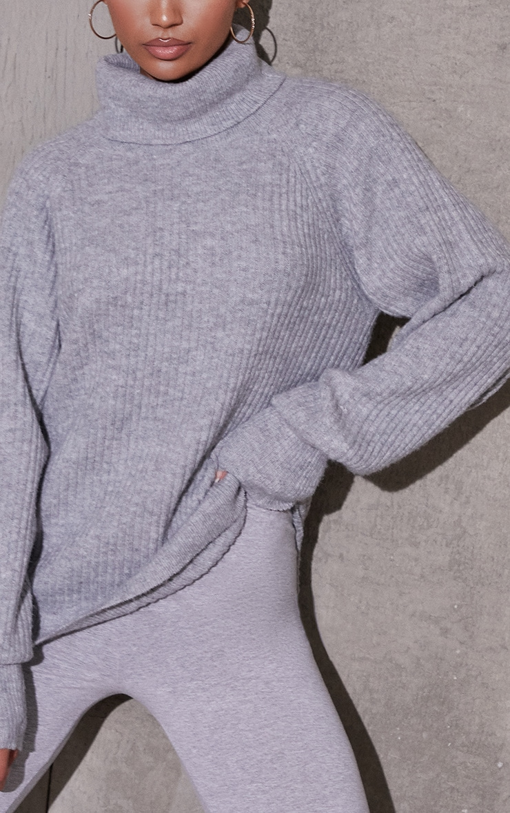 Grey Marl Roll Neck Oversized Longline Sweater 4