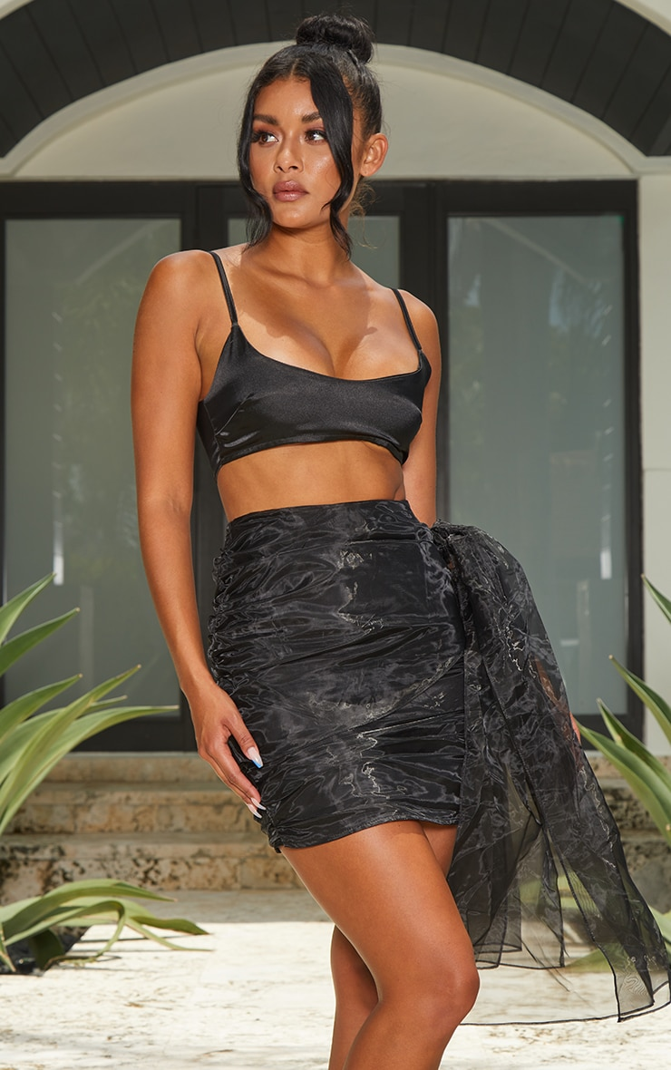 Black Organza Bow Detail Mini Skirt 1