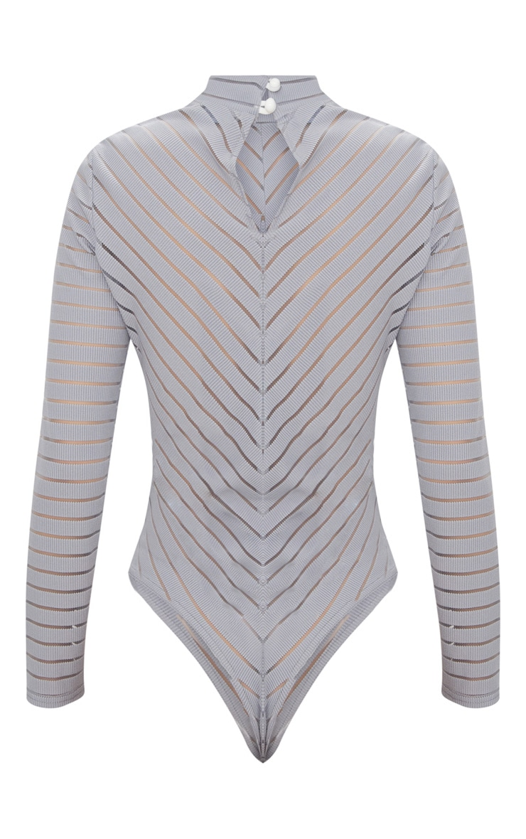 Grey Chevron Mesh Long Sleeve Thong Bodysuit  4