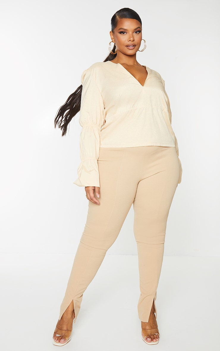 Plus Cream Tiered V Neck Long Sleeve Blouse 1