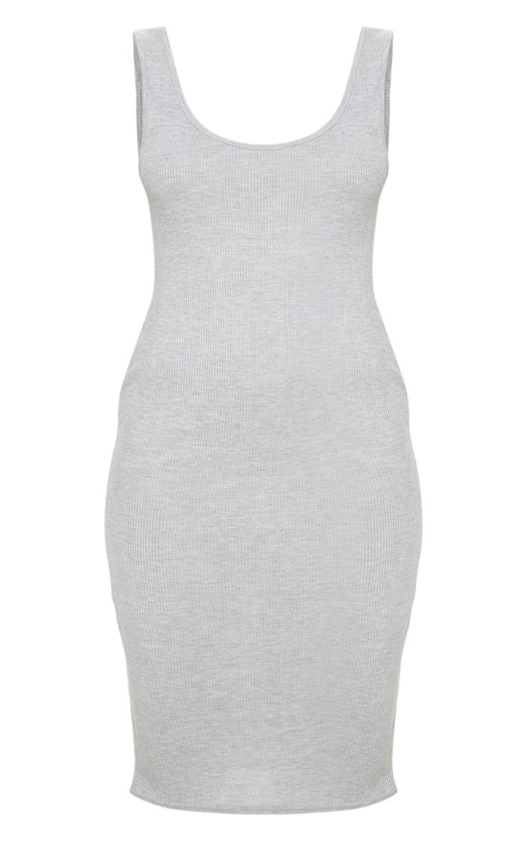 Grey Scoop Armhole Rib Midi Dress 3