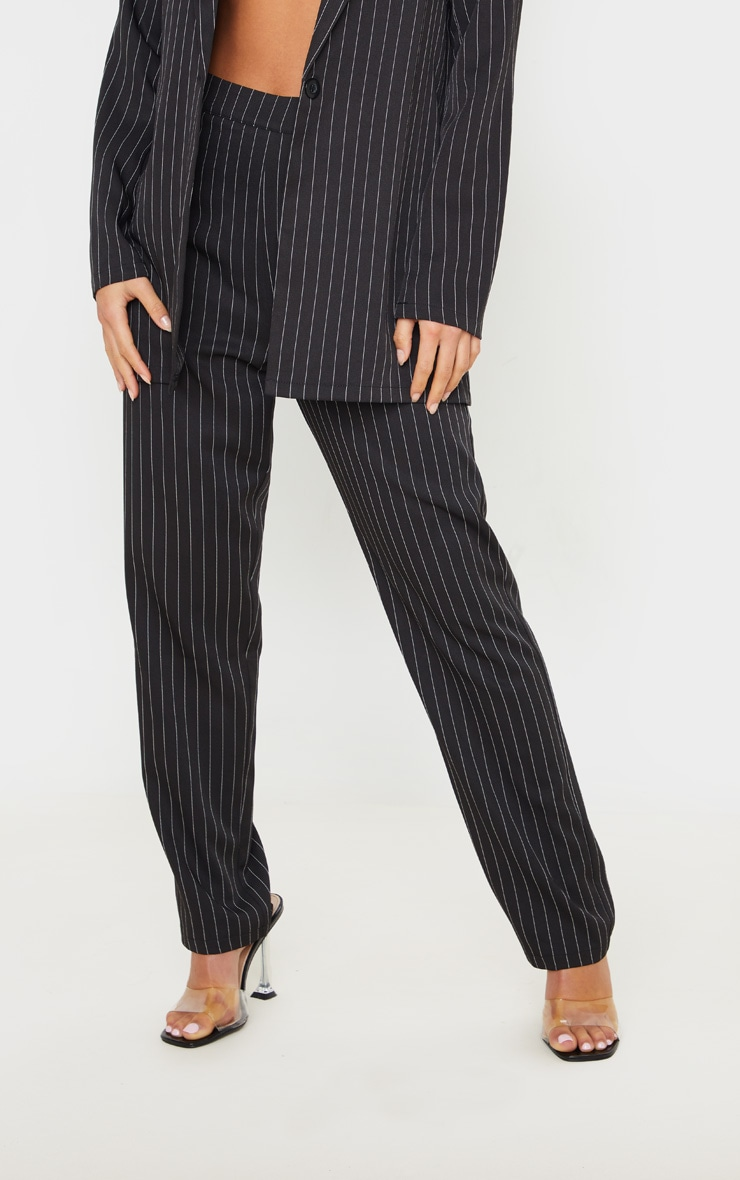 Petite Black Pinstripe Straight Leg Trouser 2