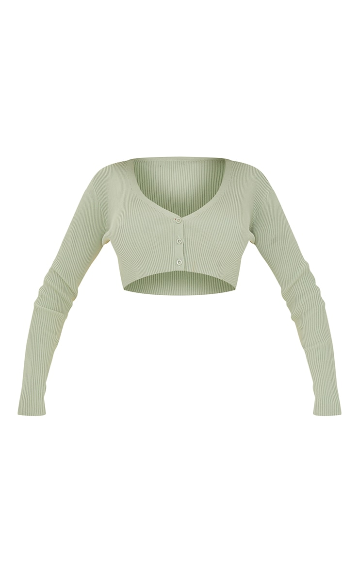 Sage Green Ribbed Knitted Button Up Cropped Cardigan 5