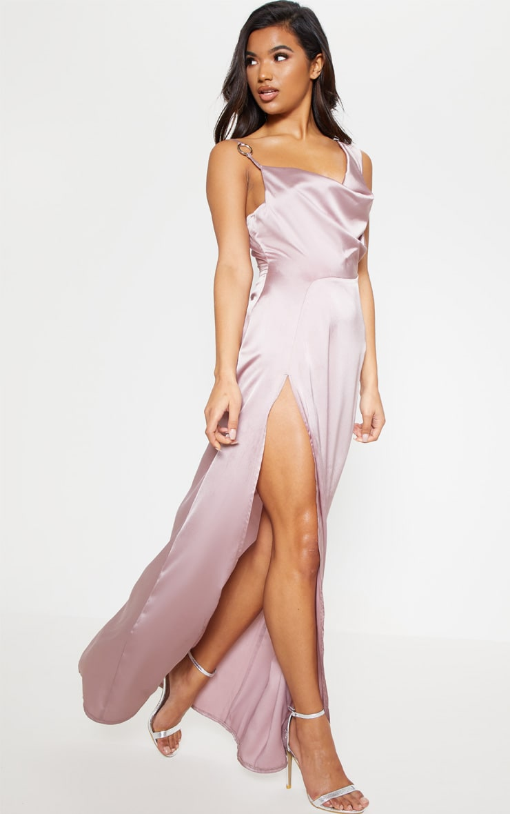 Pale Mauve Satin Ring Detail Cowl Extreme Split Maxi Dress 5