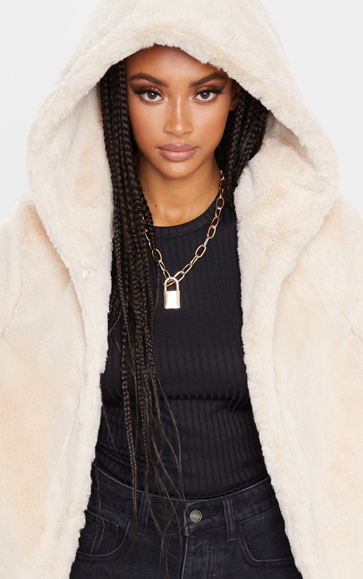 Stone Faux Fur Hooded Coat 5
