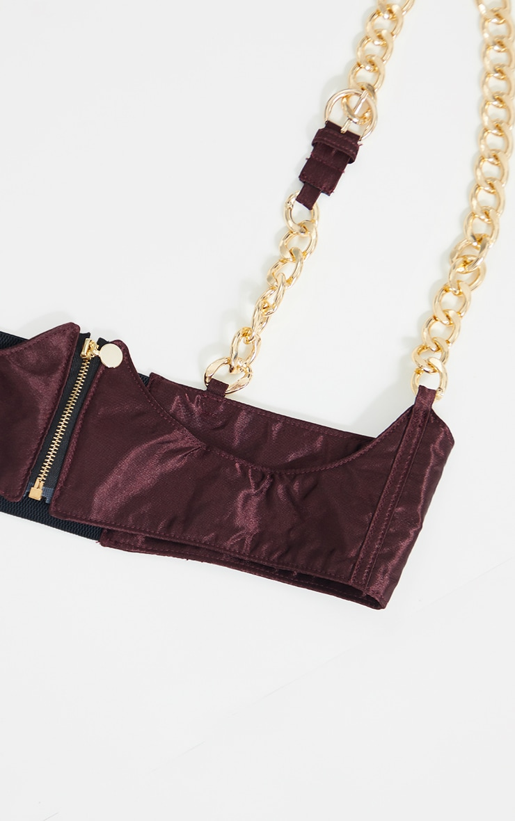 Brown Satin Chunky Gold Chain Corset Belt 3
