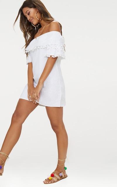 af10f64fd10a White Pom Pom Bardot Shift Dress