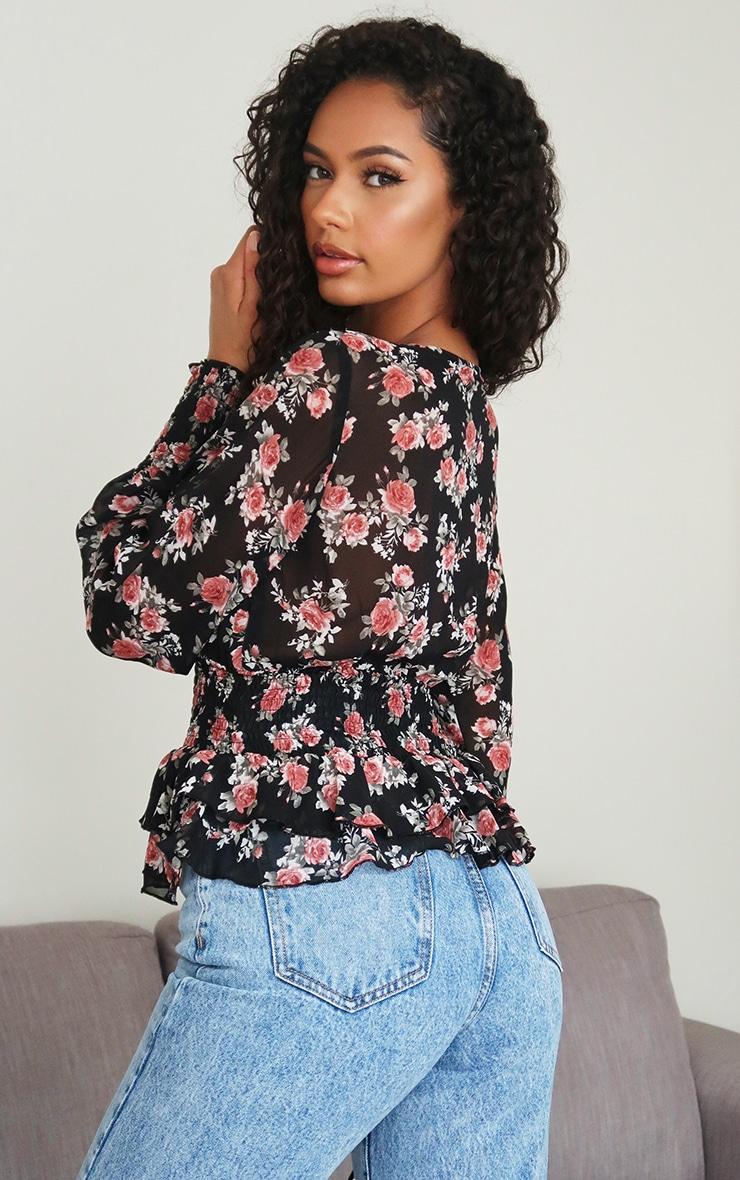 Black Floral Printed Chiffon Shirred Plunge Long Top 2