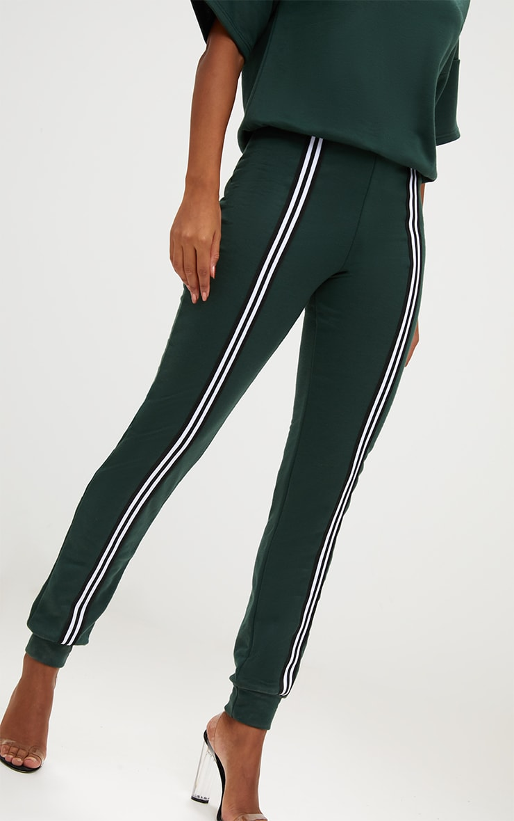 Forest Green  Loop Back Sports Stripe Jumpsuit 5