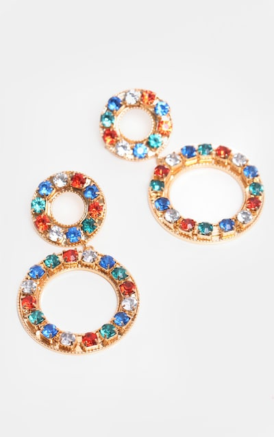 Multi Crystal Double Circle Drop Earrings
