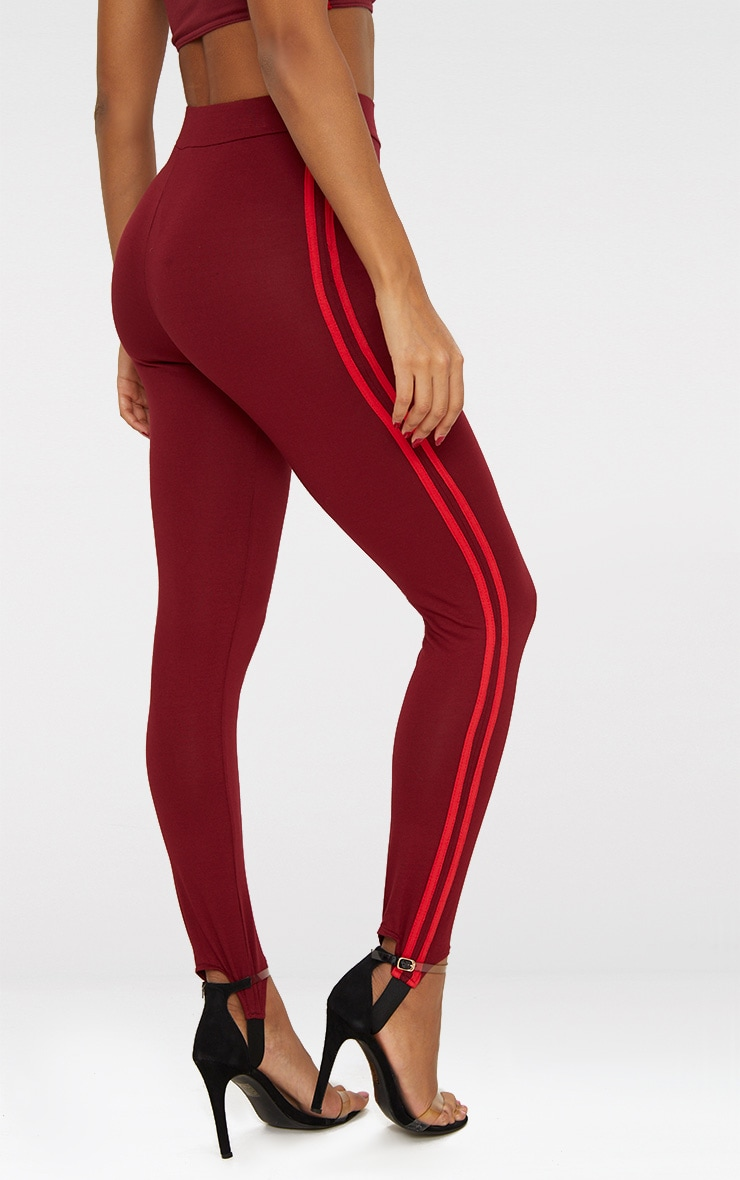 Burgundy Track Stripe Stirrup Leggings 4