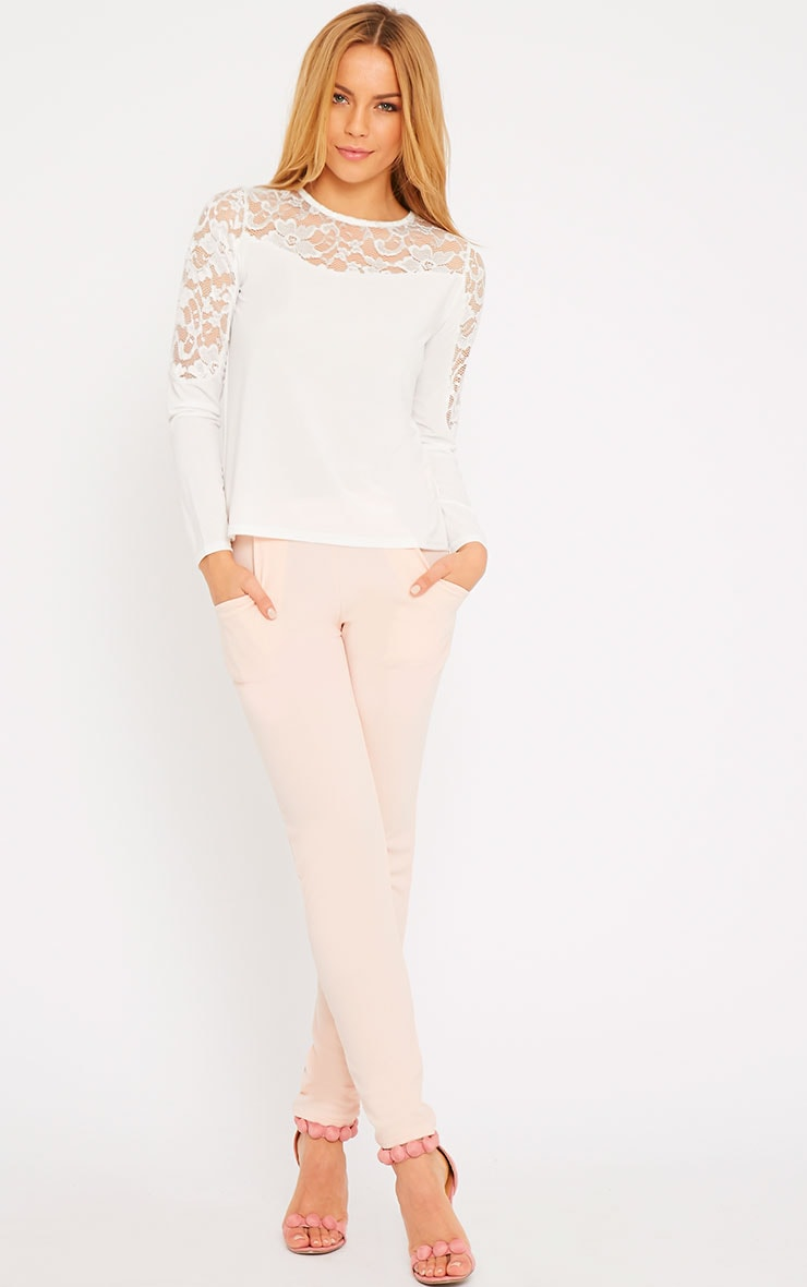 Loretta White Long Sleeve Lace Panel Top 3