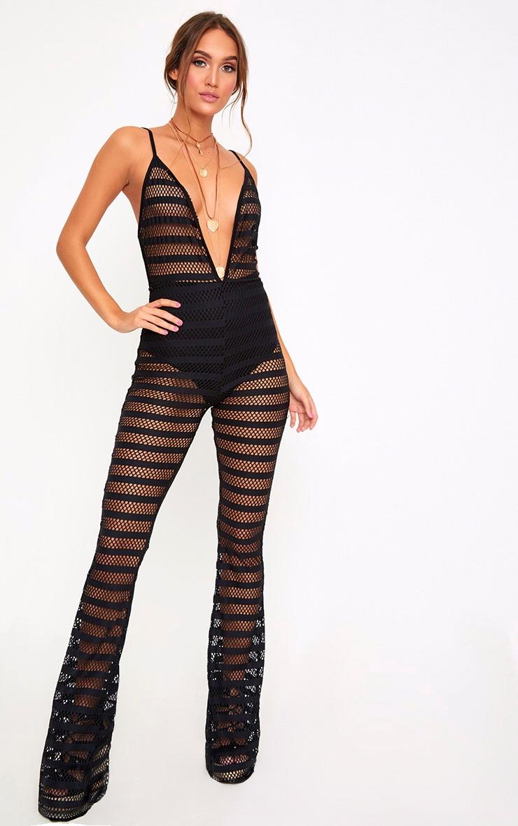 Black Knitted Plunge Wide Leg Jumpsuit  1