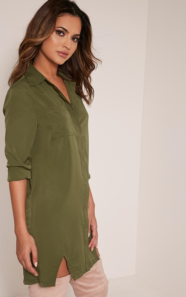 Bronte Khaki Split Detail Shirt Dress 4