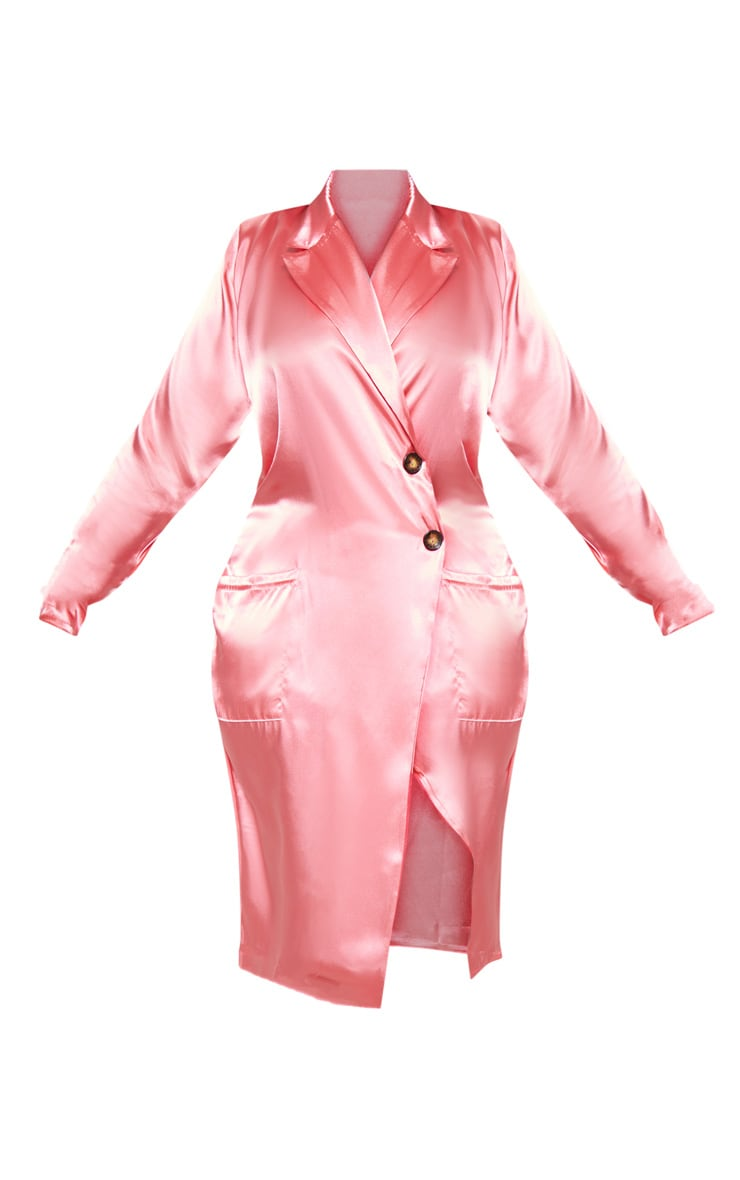 Plus Rose Satin Tortoise Button Dress 3