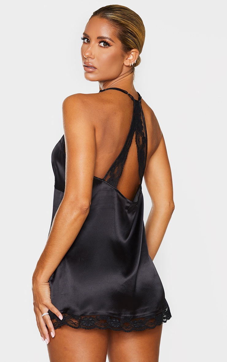 Black Lace Back Satin Nightie 1
