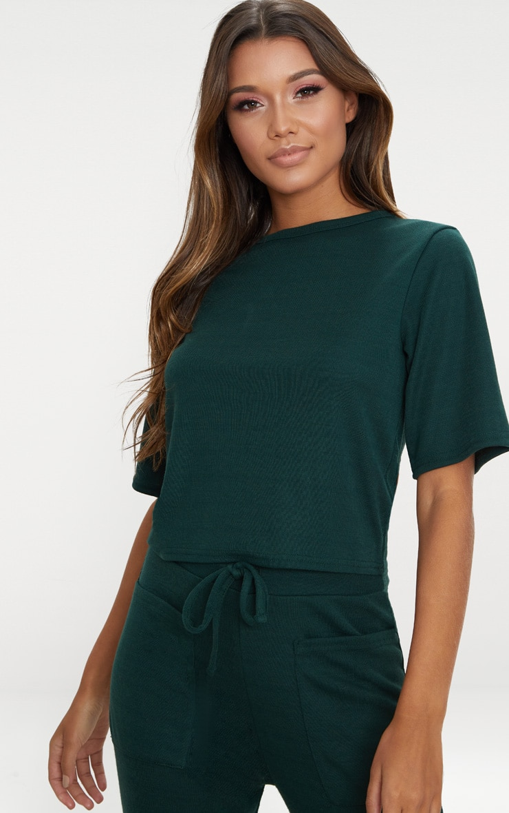 Emerald Green Soft Rib Boxy T Shirt 1