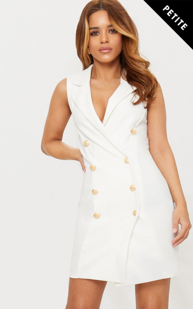 Petite White Button Detail Sleeveless Blazer Dress 1