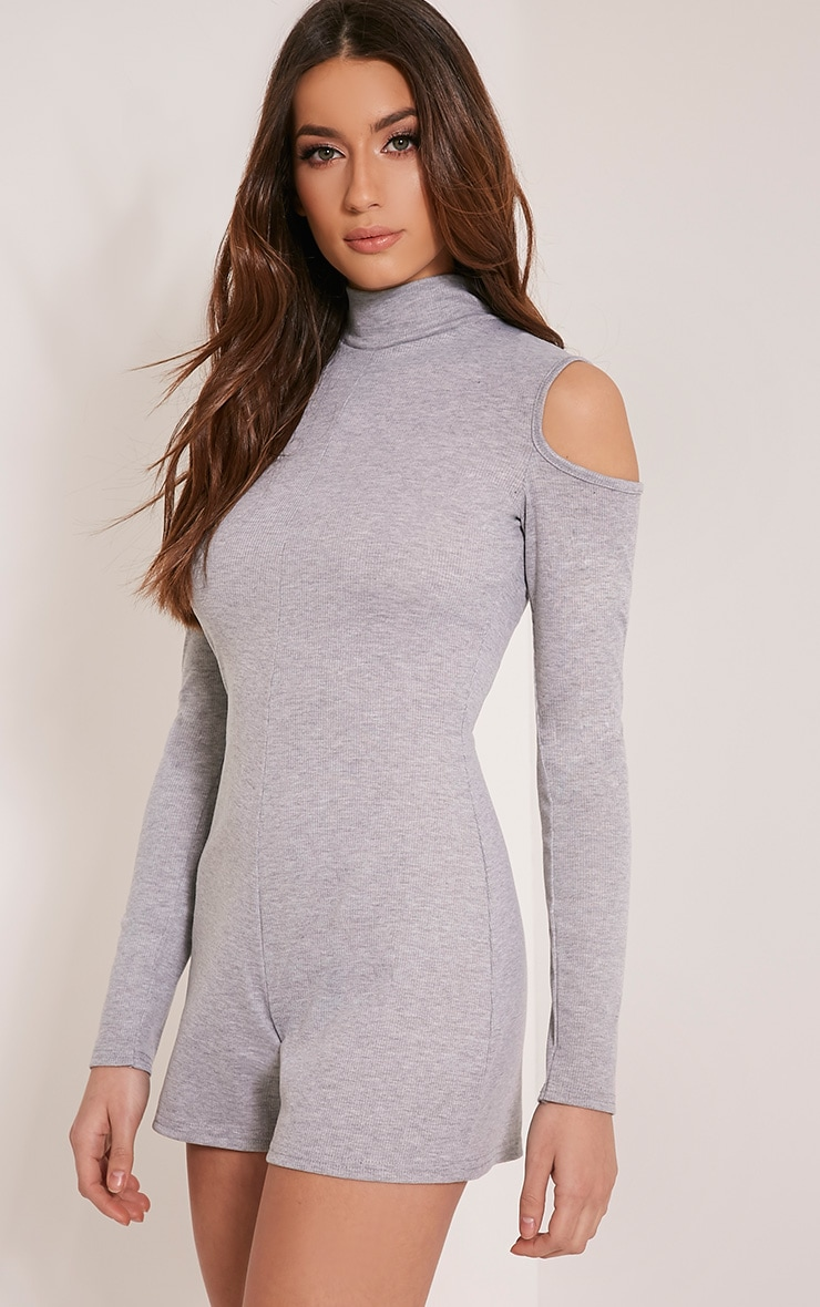 Tamsin Grey Cold Shoulder Ribbed Playsuit 1