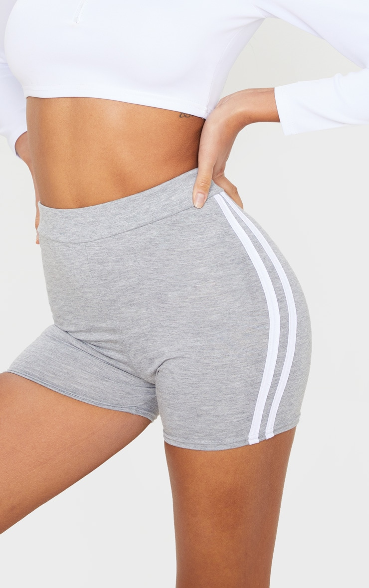 Grey Double Side Stripe High Waisted Shorts 5