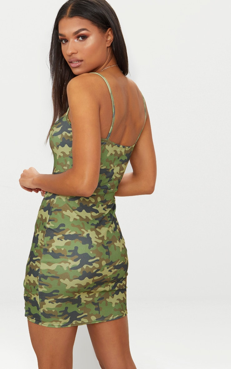 Green Camo Strappy Square Neck Lace Up Thigh Bodycon Dress 2
