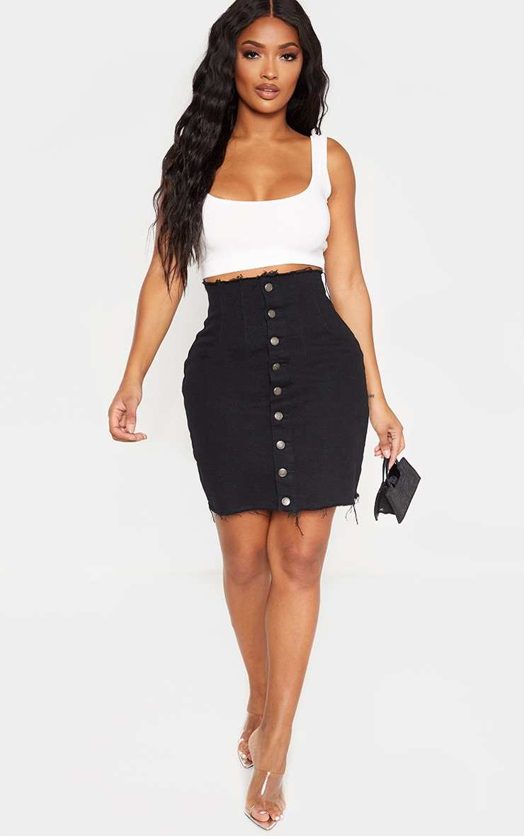 Shape Black Button Front Seam Detail Denim Skirt 5