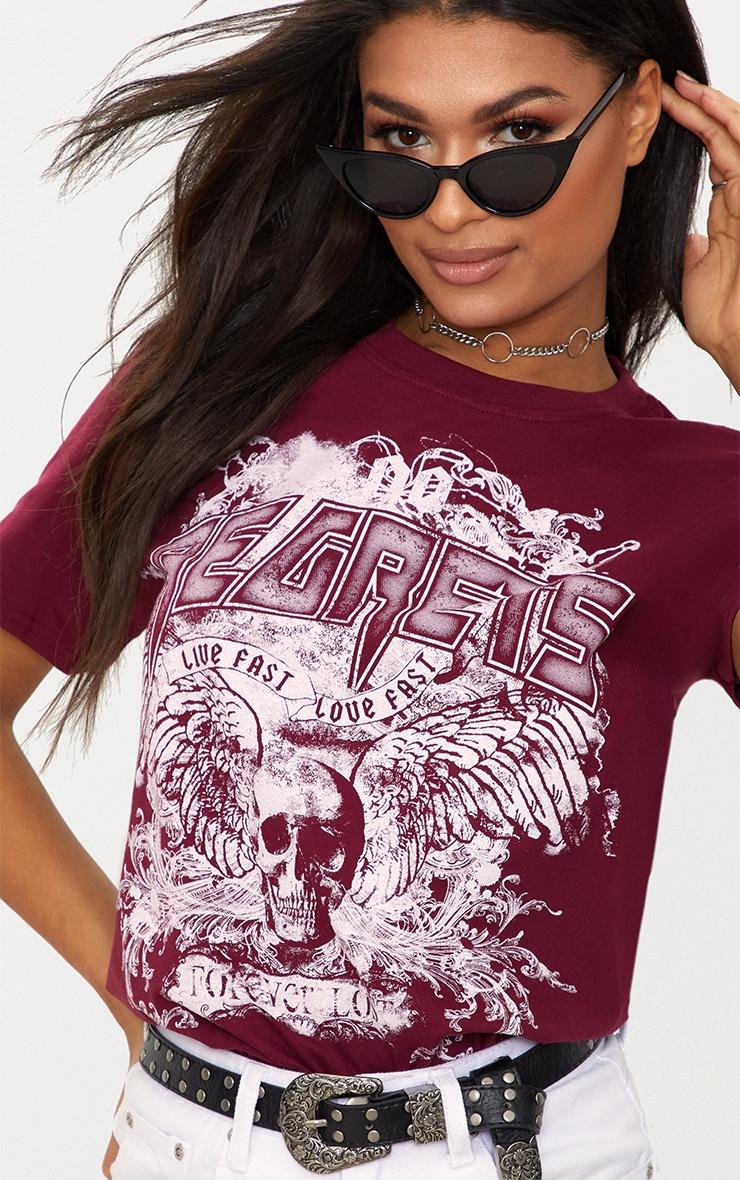 Burgundy Regrets Slogan Rock T Shirt  4