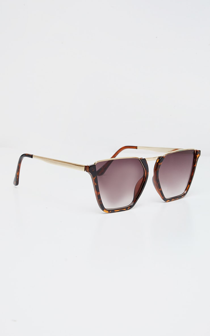 Brown Tortoise Half Frame Sunglasses 2