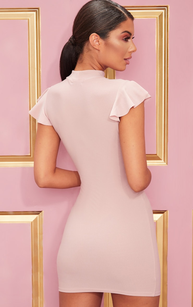 Rose High Neck Cap Sleeve Bodycon Dress 2