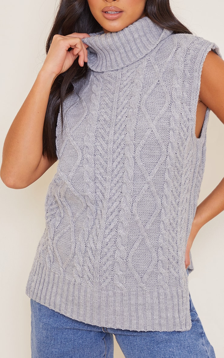 Petite Grey Longline Sleeveless Cable Roll Neck Sweater 4