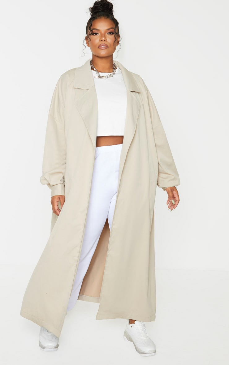 PRETTYLITTLETHING Plus Stone Contrast Panel Trench Coat 1