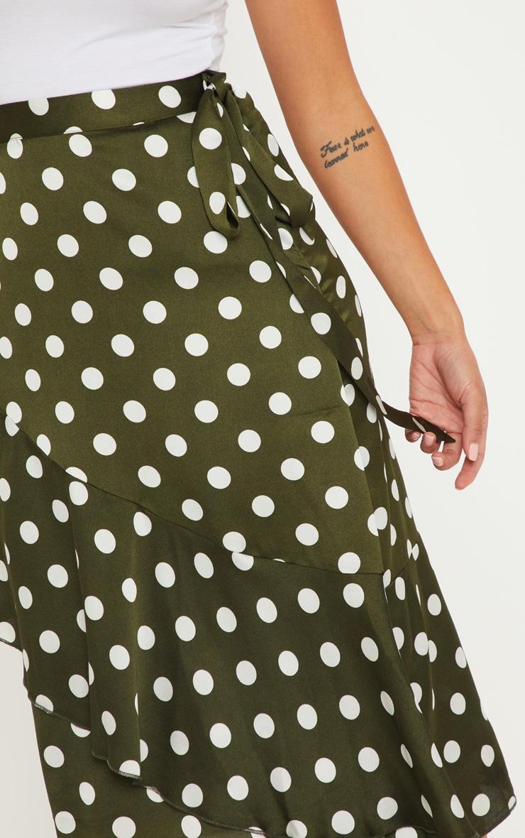 Petite Sage Green Satin Polka Dot Wrap Skirt 5