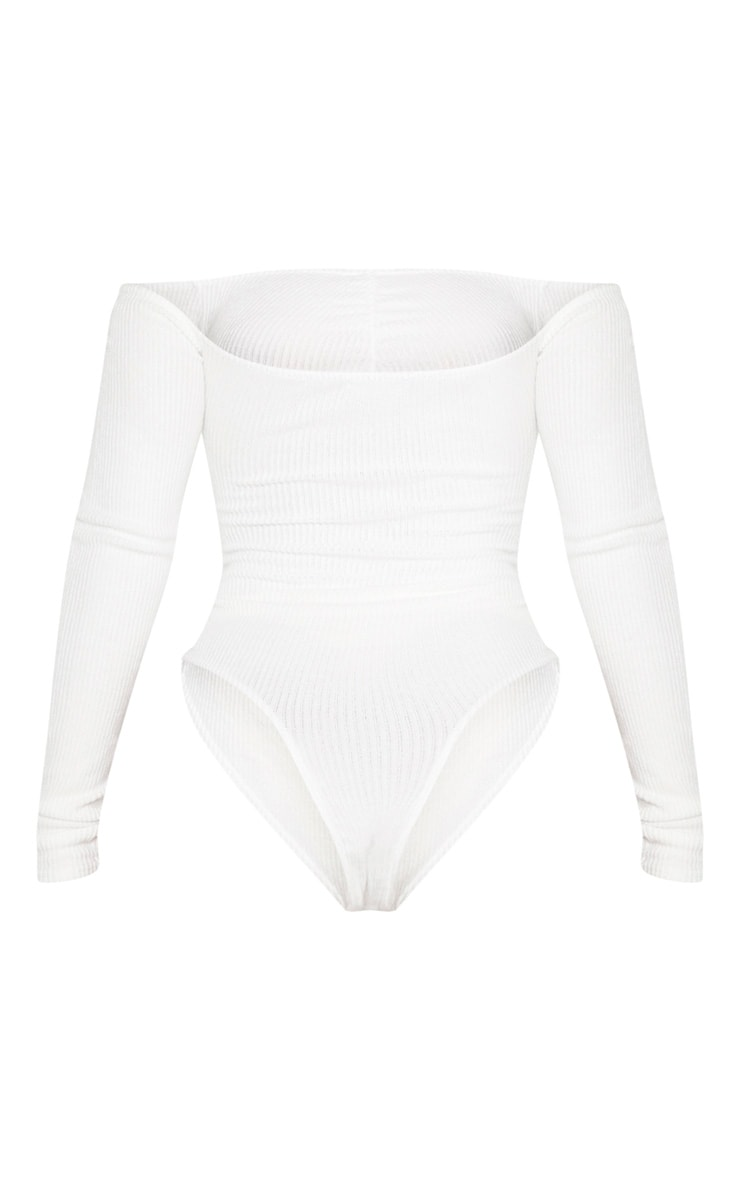 Shape Cream Brushed Rib Bardot Ruched Bodysuit 4