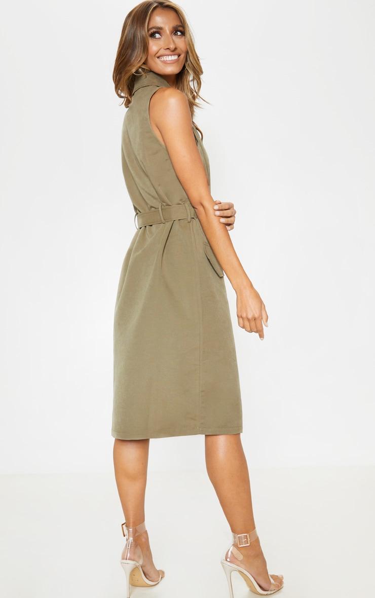 Khaki Buckle Trench Style Midaxi Dress 2