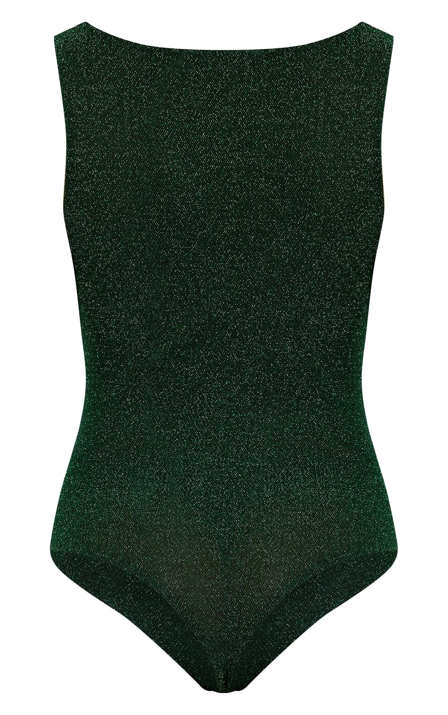Green Glitter Square Neck Thong Bodysuit  4