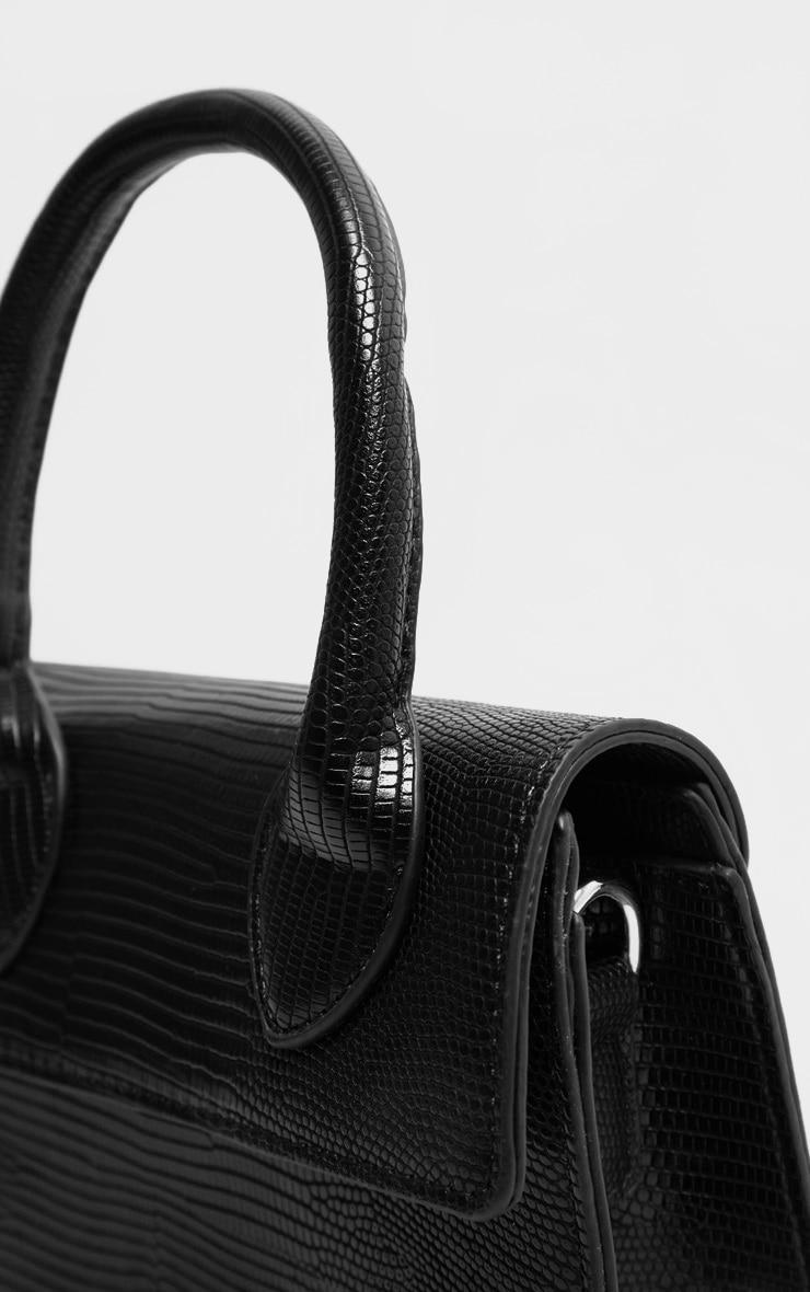 Black Croc Mini Handle Grab Bag 6