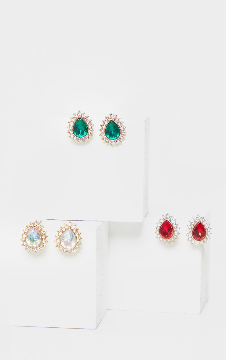 Gold Multi Gemstone Teardrop Stud Earring Three Pack   3