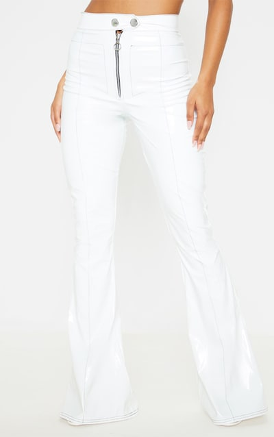 White Vinyl Contrast Stitch Popper Front Flared Trouser
